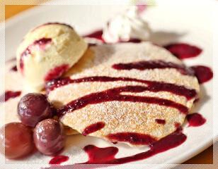 やまふじぶどう園カフェ・レストランで大人気のぶどうのパンケーキ