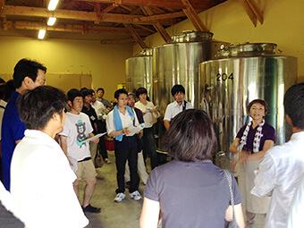ホーライサンワイナリー ワイン醸造場 見学ツアー風景